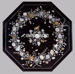 Black Marble Top Coffee Table Mother Of Pearl Inlay Outdoor Decorate Home H3842