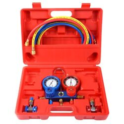 Large R134A Manifold Gauge Set AC AC 6FT Colored Hose Air Conditioner w Case