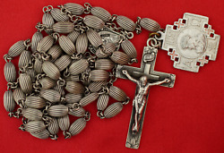 Vintage Sterling Rosary Sterling Beads Centerpiece Crucifix Rosary Crusade Medal