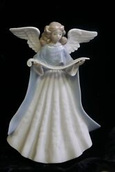 Lladro 1991 Angel Tree Topper Figurine With Blue Robe