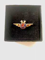 Vintage Alaska Airlines Pilot Real Ruby And Diamonds 20 Year Wing Pin Usa Rare