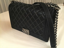 AUTHENTIC CHANEL CLASSIC QUILTED BLACK BOY FLAP CROSSBODY BAG