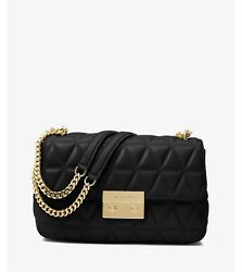 NWT Michael Kors Sloan Large Quilted-Leather Shoulder Bag in BlackGold