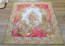 5and039 X 5and039 Floral Theme Aubusson Wall Hanging Tapestry Roses Urn Drape Antique Vtg