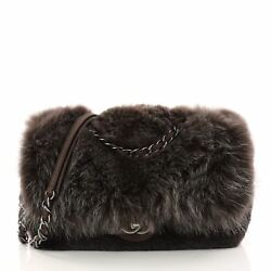 Chanel Chain Zip CC Flap Bag Fur and Quilted Lambskin Large