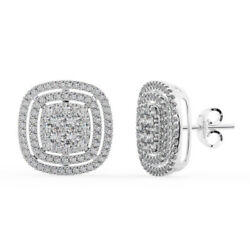 1.50ct Double Halo Diamonds Stud Earring Available In 18k Gold