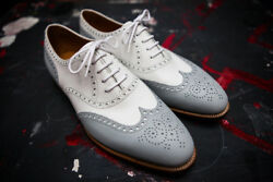 Menand039s Two Tone Color Oxford Wing Tip Brogues Toe Stylish Leather Lace Up Shoes