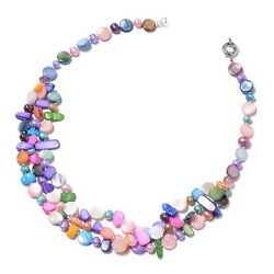 3 Layered Beads Shell Strand Chain Necklace Fresh Water Pearls Jewelry Gift 20