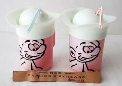 2x Very Rare Vintage 80's Smurfs Plastic Drinking Cup Greek Greece New Nos