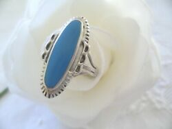 Antique Jewellery Turquoise Sterling Silver Ring Size Q Or 8 Vintage Jewelry