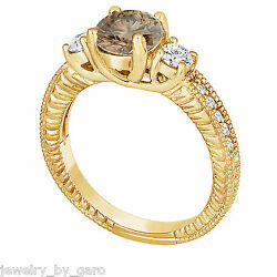 Champagne And White Diamond Engagement Ring Vintage Style Engraved 14k Yellow Gold