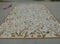 9and039 X 12and039 Aubusson New Zealand Wool Rug Full Floral Bunches Ivory Hand-woven