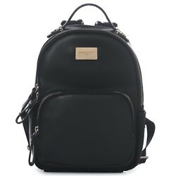 DAVIDJONES Black Classic Girls Mini Vegan Leather Backpack Shoulder Bag for Woma