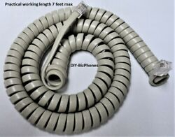 Generic Ash 12 Ft Phone Handset Cord Tan Curly Coil Receiver New In Factory Bag