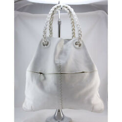 BOTTEGA VENETA White leather shoulder bag with twisted handles and duster