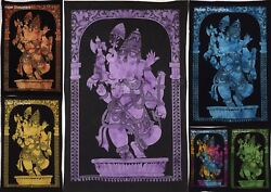 Ganesha Lord Dancing Small Tapestry Indian Poster Wall Hanging Throw Table Cloth