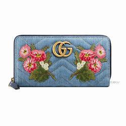Limited NWT GUCCI GG MARMONT Zip Around Wallet Blue Quilting Denim Made in ITALY