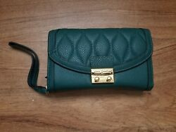 vera bradley ultimate wristlet forest green genuine leather nwt leather wallet