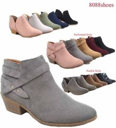 Soda Women Causal Low Heel Almond Toe Zipper Ankle Booties Shoes Size 5.5-11 NEW