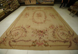 10and039 X 14.3and039 Antique French Aubusson Rug Handm Woven Floral Rose Fine Home Decor