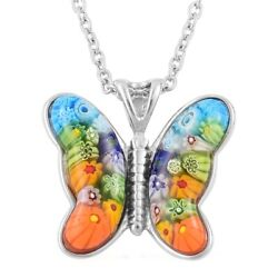 Murano Millefiori Glass Steel Butterfly Pendant Chain Necklace Gift 24