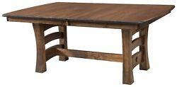 Amish Rustic Farmhouse Trestle Dining Table Solid Wood Bow End