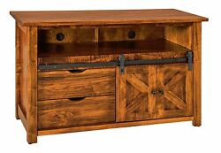 Amish Rustic Tv Stand Cabinet Solid Wood Barn Door Sliding Track System 49