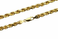 Brand New 14k Yellow Gold 5mm Rope Chain Twist Link Necklace Size 22 - 30
