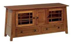 Quick Ship Amish Mission Mccoy Tv Stand Cabinet Console Solid Wood 60 Qswo