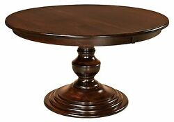 Amish Round Pedestal Dining Table Modern Traditional Solid Wood 48 54 60