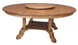 Large Round Dining Table Traditional Country Solid Oak Wood 6072 Lazy Susan