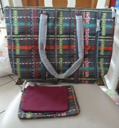 vera bradley Midtown Tote and wristlet pouch duo in City Plaid NWT
