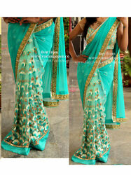 Latest Designer Saree Fancy Embroidery Net Georgette Party Festival Ethnic Sari