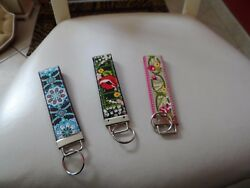 Keyfob wristlet hand crafted from repurposed authentic Vera Bradley fabric