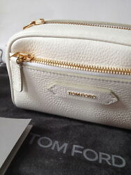 TOM FORD White Grained Leather Travel Cosmetics Case Bag Brand New with Tags