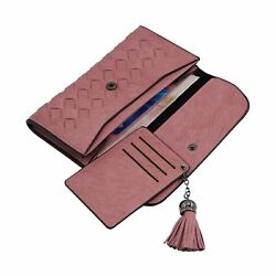 Weave Clutch Wallet with Fringe Credit Card Holder Purse for Teen Girls and W...
