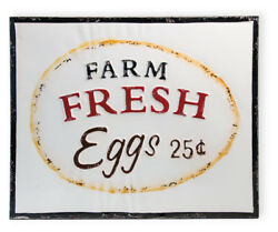 Farmhouse Fresh Eggs Vintage Chicken Farm Stand Distressed  White Metal Sign