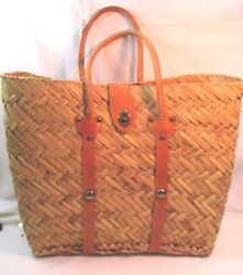 Vintage 1950's Straw Beach Market Bag Natural Woven with Leather Handles Clasp