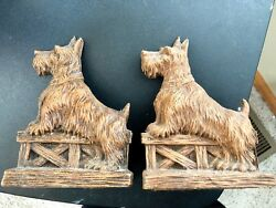 Syroco Wood Scottish Terrier BookendS  old early mid century vtg