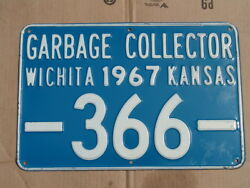 Antique 1967 Garbage Collector License Plate/sign, Wichita, Ks, Embossed 366