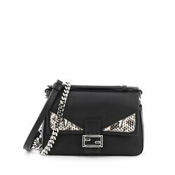 Fendi Double Baguette Monster Crossbody Bag Leather and Python Micro