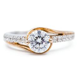 6.5mm Round Moissanite Two Tone 14k White And Yellow Solid Gold Diamond Bypass