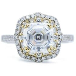 7mm Asscher/octagon Heirloom Moissanite Two Toned 14k White And Yellow Gold Antiq