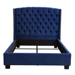 Majestic Eastern King Tufted Bed In Royal Navy Velvet With Nail Head Wing Acc...