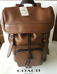 New Coach Men's  F72311 Backpack Henry $695.00 New Pebbled Leather Dark Saddle