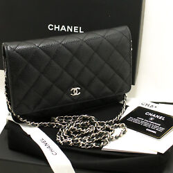 CHANEL Authentic Caviar Wallet On Chain WOC Black Shoulder Bag Crossbody L94