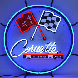 Corvette C2 Neon Sign Sting Ray With Backing 5corc2 W/ Free Shipping