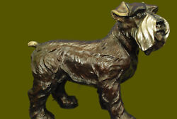 Backyard Garden Patio Home Decoration Schnauzer Terrier Bronze Sculpture Figurin