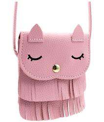 Naovio Cat Tassel Shoulder Bag Small Coin Purse Crossbody Satchel for Kids Girl