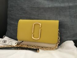 Marc Jacobs Leather Chain Wallet Cross Body Sunshine YellowGold $265
